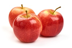 Shiny red apples, isolated on white background.