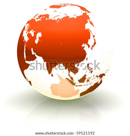 Shiny red continents-only globe marble with highly detailed continents facing Asia