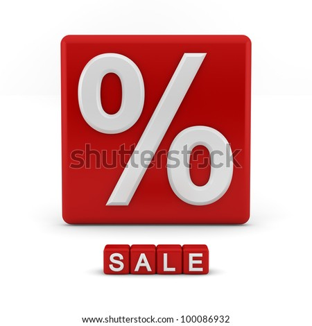 Shiny red 3D block with the percentage symbol and the word sale
