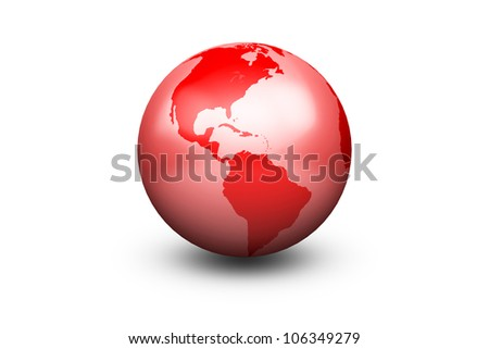 Shiny Red Globe Earth facing America