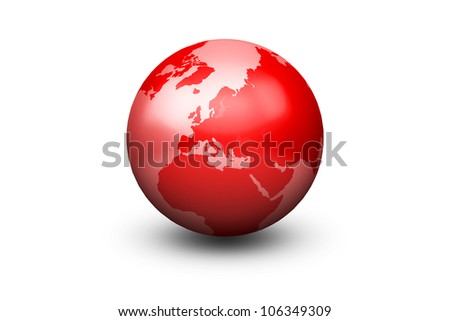 Shiny Red Globe Earth facing Europe