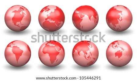 Shiny Red Globe Earth facing South Africa,Australia,East Asia,Europe,Middle East, Arab,North America ,South East Asia