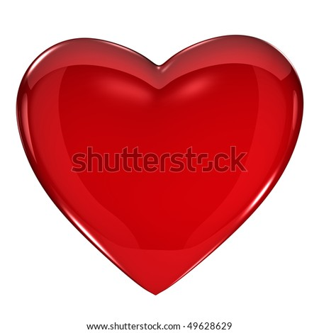 Shiny red heart on white background