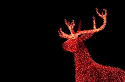 Shiny Red Illuminated Christmas Reindeer Shaped Outdoor Decoration Lights on Dark Background