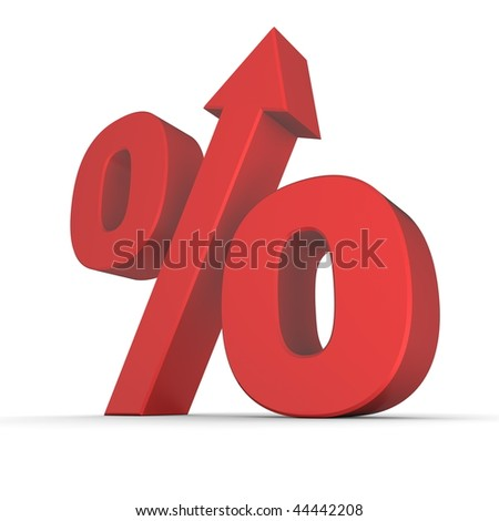 shiny red percentage symbol with an arrow up