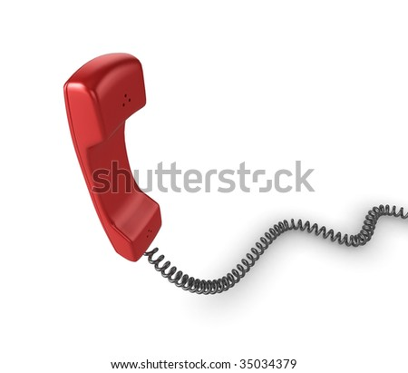 Shiny red phone illustration with black cord, isolated on a white background.
