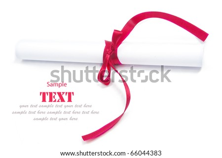 Shiny red ribbon bow and paper on white background with copy space.