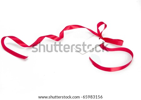Shiny red ribbon bow on white background