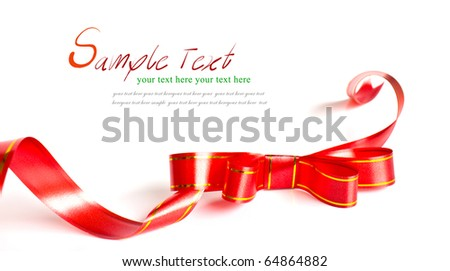 Shiny red ribbon bow on white background with copy space.