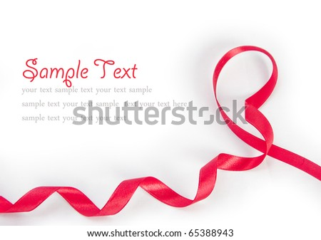 Shiny red ribbon bow on white background with copy space