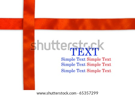 Shiny  red ribbon on white background with copy space for text