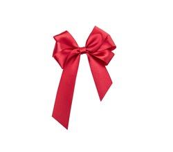Shiny red satin ribbon isolated on white background
