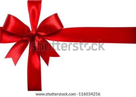 Shiny red satin ribbon on white background