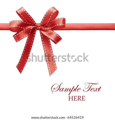 Shiny red satin ribbon on white background with copy space