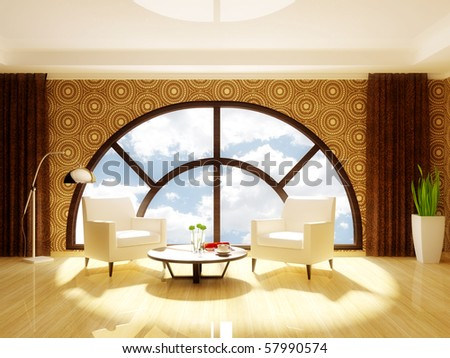 shiny room with two white armchairs and big   semicircle windows