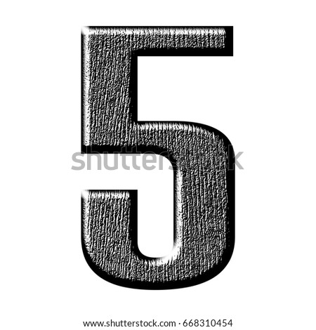 Shiny Rough Black Wood Grain Textured Number Five 5 In A 3D Illustration With Dark