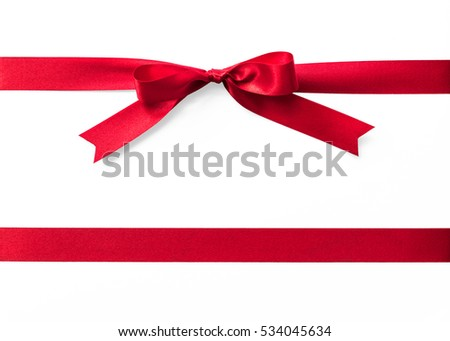 Shiny satin red ribbon color isolated on white background with clipping path: Realistic stripe fabric design decoration element for holiday seasonal festive greeting invitation card, Xmas party