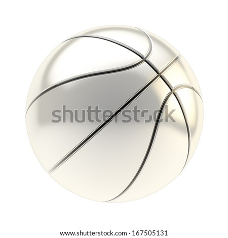 Shiny silver basketball ball 3d render isolated over white background