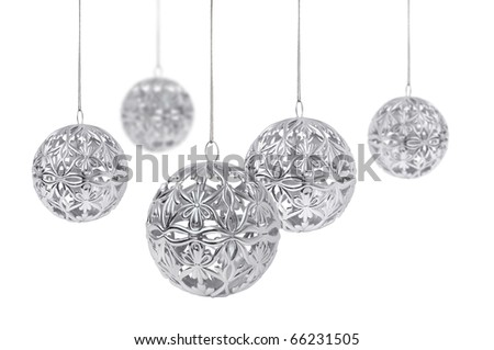 Shiny silver Christmas ball hanging, isolated on white background