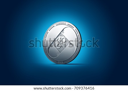 Shiny silver OMISEGO OMG coin displayed on gently lit dark blue background. 3D rendering (new virtual money)