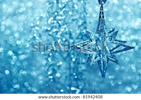 shiny silver star. festive glittering decoration. christmas or new year card concept