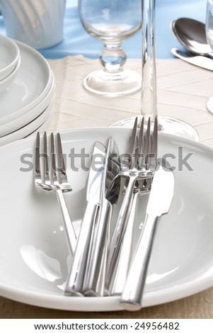 shiny silverware on white plate