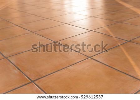 shiny tiled floor with Terracotta tiles