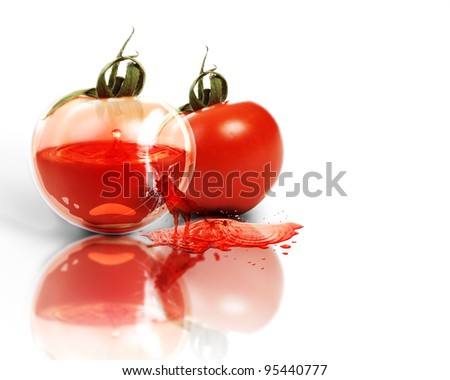 Shiny transparent unusual tomatoes giving juice