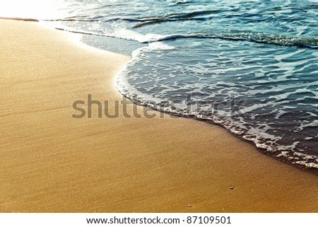 Shiny tropic sea wave on golden beach sand in sunset light #87109501