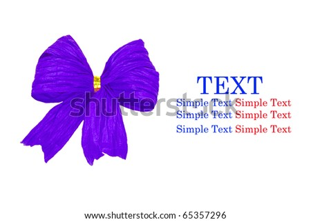 Shiny violet  ribbon bow on white background with copy space for text