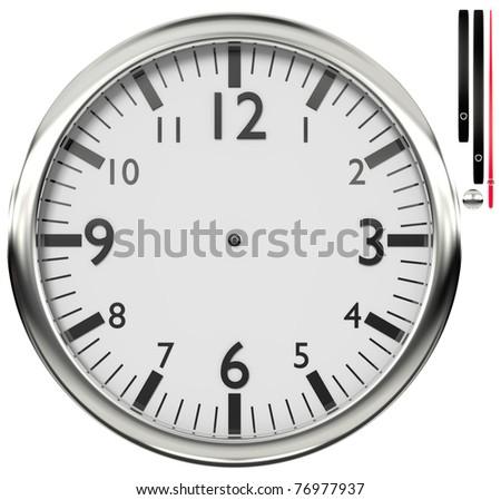 Shiny wall clock isolated on white background