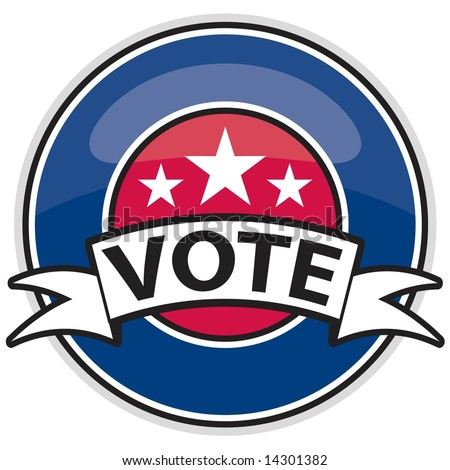 Shiny web 2.0 button / badge in patriotic colors for Election Day in JPEG/TIFF format. (Image ID for vector version: 14298022)