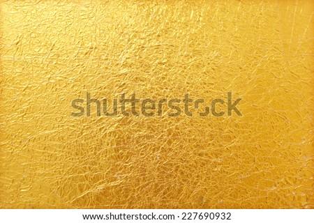 stock photo shiny yellow leaf gold foil texture background 227690932 - Каталог — Фотообои «Текстуры»
