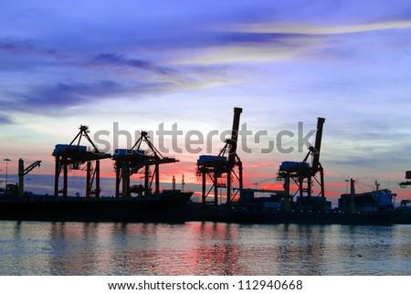 ship and port at night