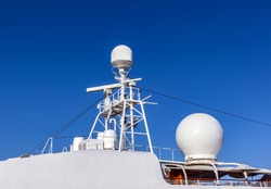 Ship antennas navigation bridge. Navigation radar system antennas white luxury yacht