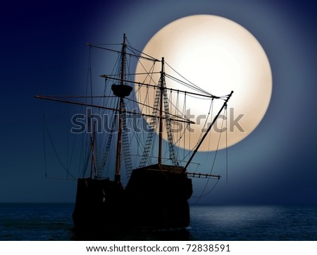 Ship at night with moon