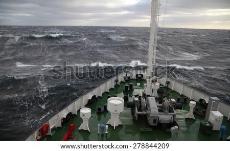 Ship at rough sea