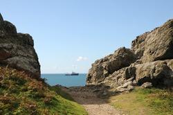 Ship at sea off Torteval, Guernsey