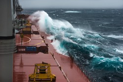Ship at storm in north Pacific