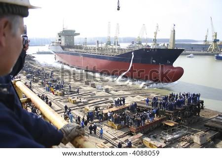 Ship before launching in the shipyard on Danube