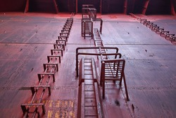 ship cargo hold vertical ladder and vertical pipelines with protection