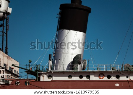 Ship chimney of a ship in a dock