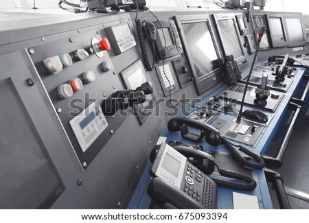 Ship control panel in  captain's bridge #675093394