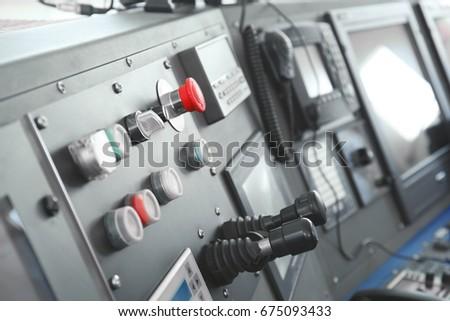 Ship control panel in  captain's bridge #675093433