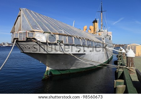Ship docked for repair and restoration