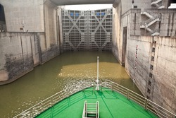 Ship entering the first lock of Three Gorges Dam in Yangtze river, China