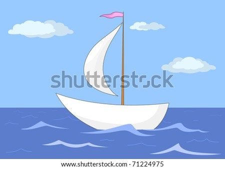 ship floats in the sea under a sail, from above the sky and clouds