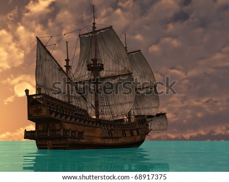 ship ij sea in sunset lights #68917375