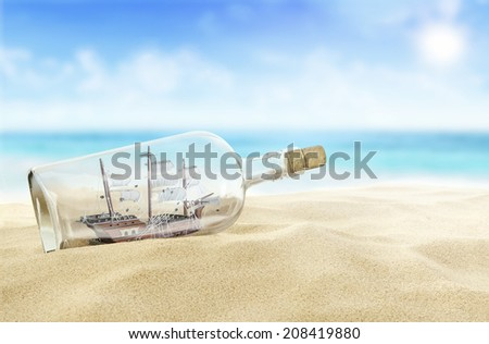 Stock Photo Ship in a bottle