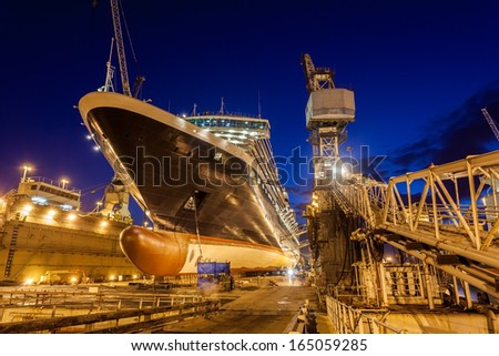 Ship in dry dock, Bahamas